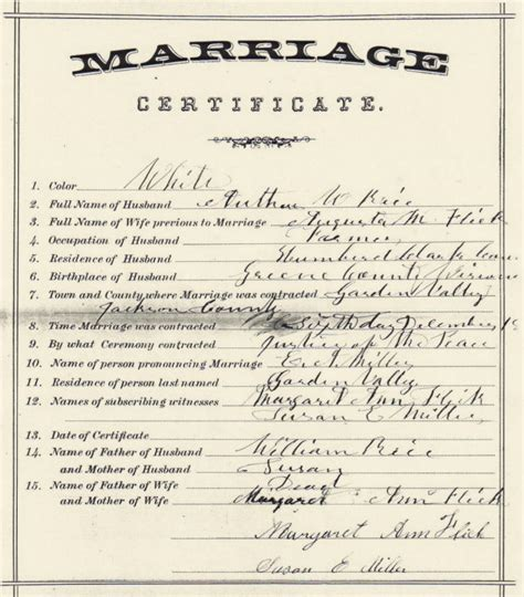 Jackson County Marriage License Records Arthur W Augusta M Rice Jackson Co Wi