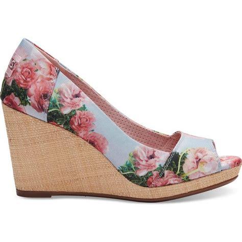 flower pattern wedges toms pink graphic floral print women s stella peep toe