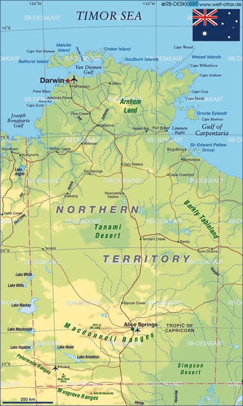 map northern australia map of northern territory state section in australia