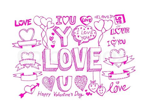 drawings for valentines day draw s day design labels icons elements