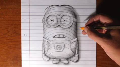 How To Make Paper Look 3d - how to draw a minion line paper trick