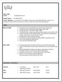 Resume Format For Hardware And Networking Engineer Network Engineer Resume Format