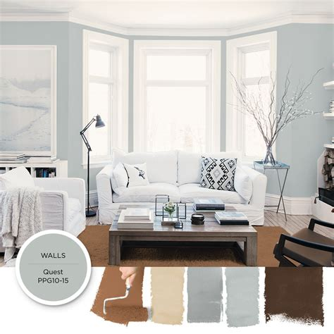 light gray blue paint color quest by ppg is featured in this modern airy living room this