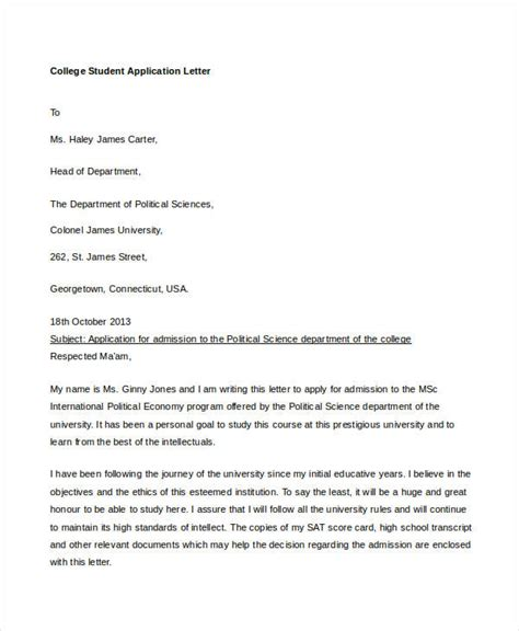 application letter for a college student college application letter templates 9 free word pdf