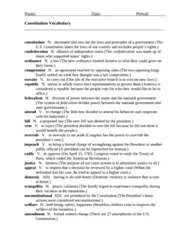 Analysis Of The Constitution Worksheet Answers by Constitution Vocabulary Practice Worksheet By