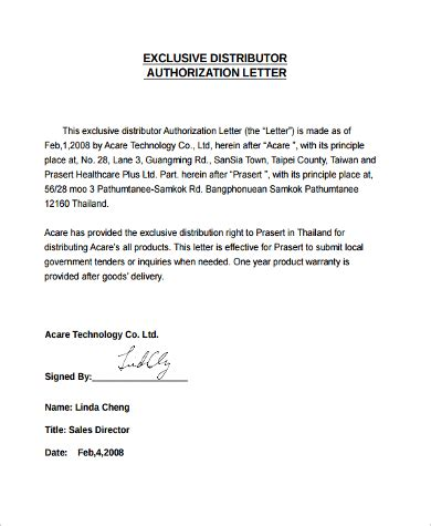 authorization letter exclusive distribution authorization letter sle 9 exles in word pdf