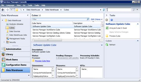 web services management console analyze system center cubes using excel the official