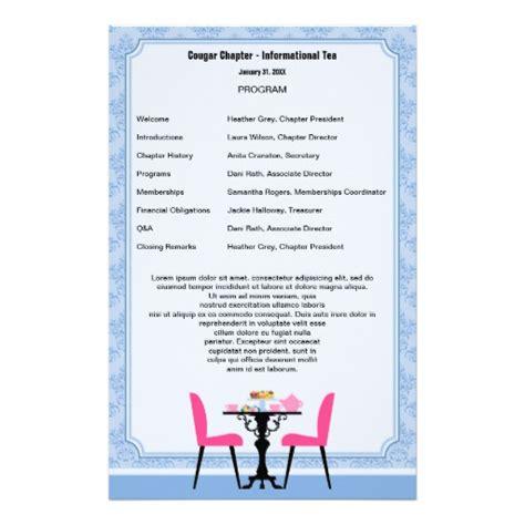 tea party program template stationery zazzle