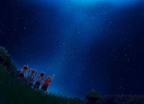 starry night sky girl anime starry night sky wallpaper 1920x1080 memes