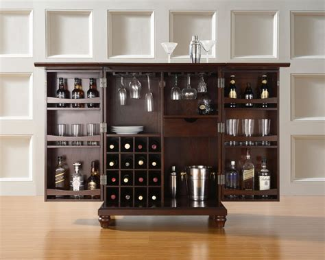 rustic brown wooden mini counter bar with glass