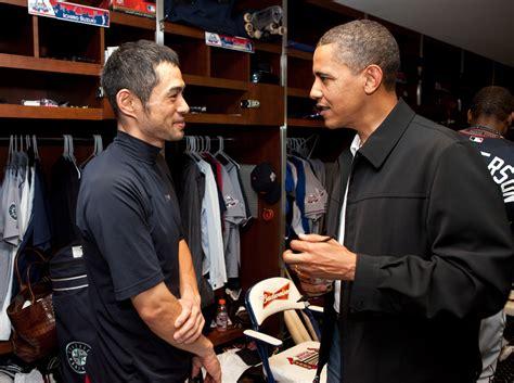 Ichiro Suzuki Family File Ichiro Suzuki And Barack Obama Jpg Wikimedia Commons