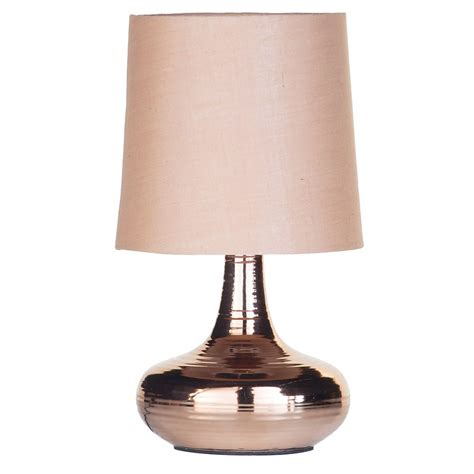 Mini Scratched Table Lamp with Light Beige Shade   Copper