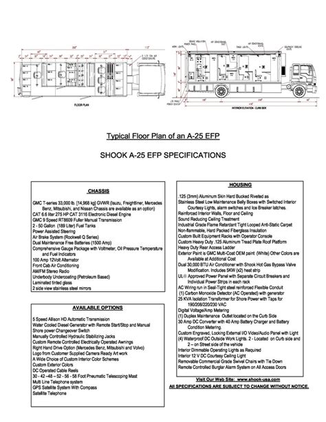 Mba Housing Specification by Broadcast Vehicle A 25 Efp Specifications