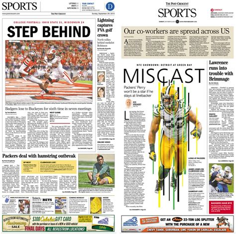 sports section of a newspaper appleton wis post crescent launches a redesign