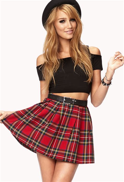 forever 21 cool plaid skirt in lyst