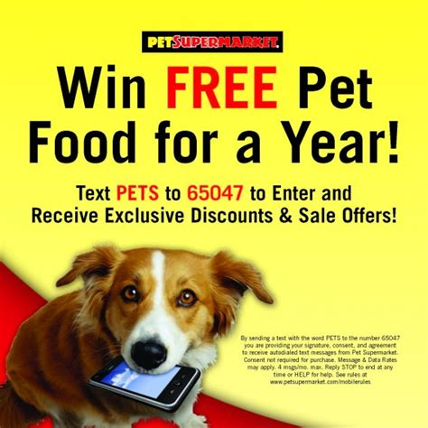 Text Contests Sweepstakes - pet store pet supermarket mobile contest text to win sweepstakes sweeppea blog