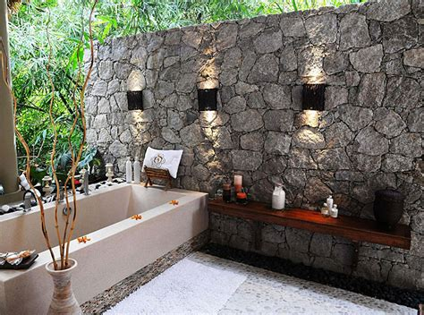 beautiful outdoor bathroom designs corner