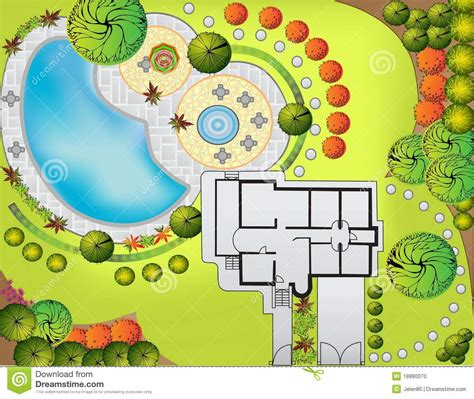 Donald Gardner Architect plan of landscape and garden stock photo image 18880070
