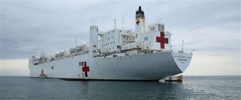 usns comfort location puerto rico to get aid from a 900foot long floating