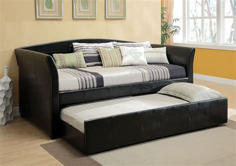 trundle couch bed delmar contemporary black twin daybed with twin trundle