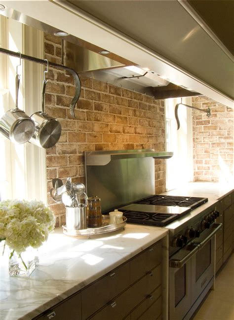 brick backsplash in kitchen kitchen kitchen backsplash ideas black granite