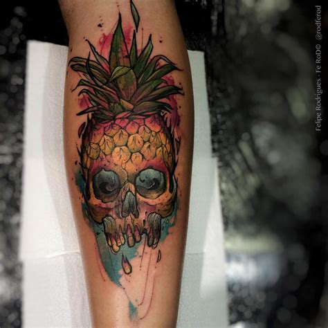 forearm pineapple skull best tattoo design ideas