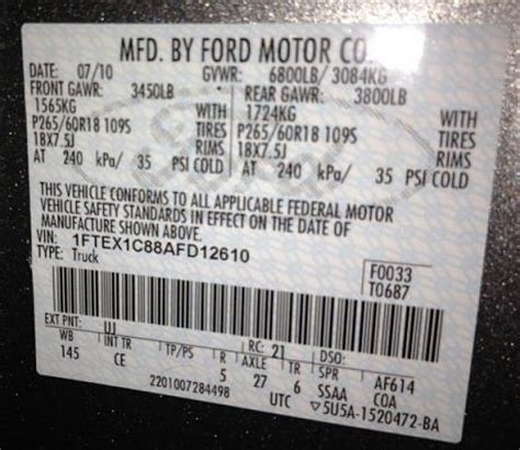 identify your ford truck axle from the door sticker – blue