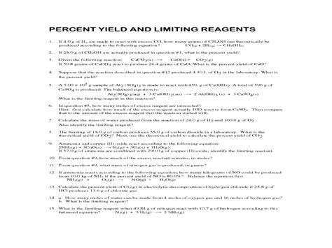 Limiting Reagents Worksheet by Limiting Reagent Worksheet Worksheets Releaseboard Free