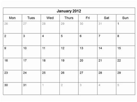 easy calendar template free 2012 monthly calendar template