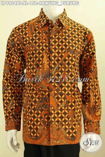 Baju Batik Kombi Burung jual kemeja lengan panjang bahan batik kombinasi tulis