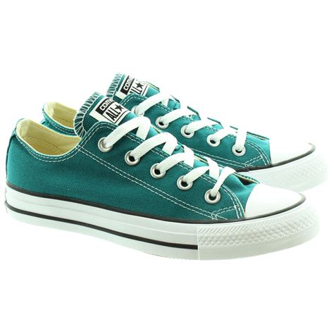 teal color shoes converse canvas allstar ox lace shoes in teal in teal