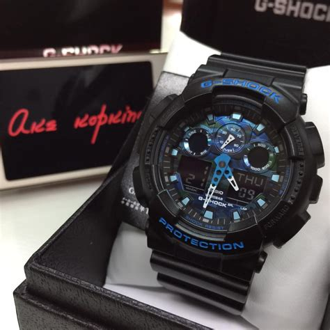 G Shock Ga 100a Black Blue g shock blue and black www imgkid the image kid