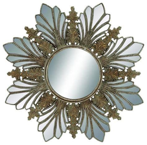 gold mirror pattern round wall mirror flower gold silver chrome pattern