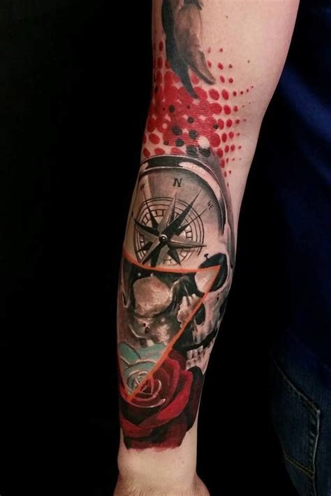 compass tattoo polka trash chronic ink tattoo toronto tattoo trash polka skull and