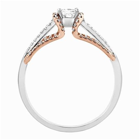 platinum gold engagement ring with princess cut