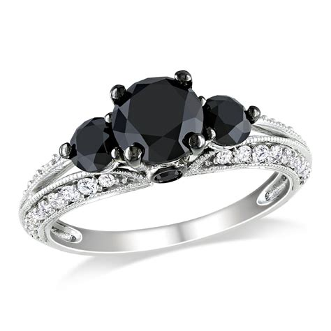 white gold black white engagement ring