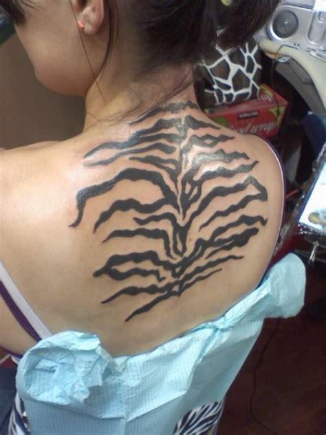 zebra print tattoos realistic black ink zebra print on back
