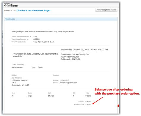 printable receipt with balance due purchase orders manually enter an order for tickets