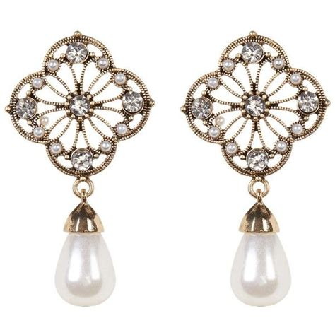 Flower Faux Pearl Drop Earring accessories flower rhinestone faux pearl drop