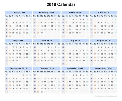 printable yearly calendar by week yearly calendar by week 2016 yearly calendar printable