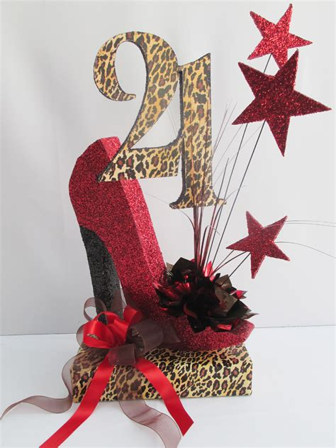 high heel birthday decorations 21st and 50th birthday centerpieces with leopard designs