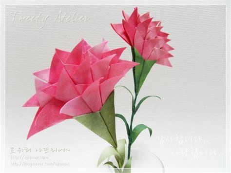 Origami Carnation Flower - 카네이션 접기 손쉽게 만들 수 있는 한지로 접은 카네이션 네이버 블로그 origami