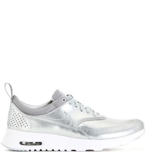 silver sneakers for nike air max thea metallic silver sneakers in metallic lyst
