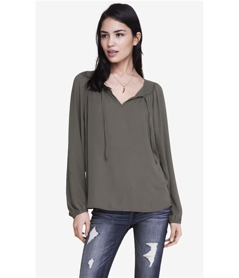 Du Blouse Olive 1 express square neck tie blouse in green lyst