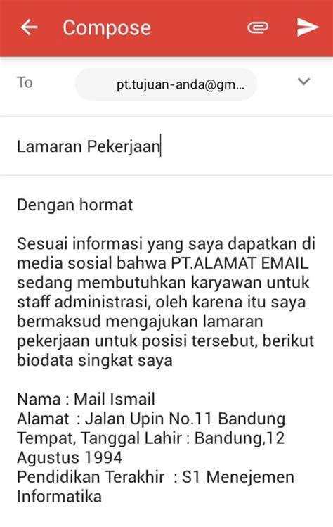 contoh  mengirim surat lamaran kerja  email