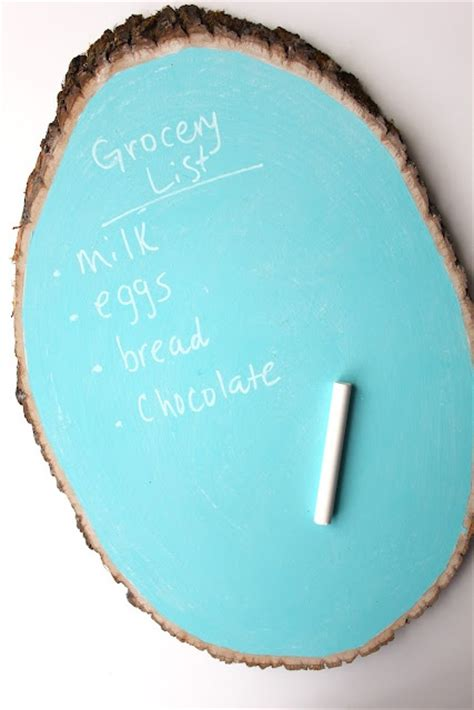 chalkboard paint wood slices tree trunk chalkboard home and diy