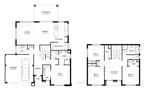double storey 4 bedroom house designs perth apg homes double storey residential floor plan house floor plans