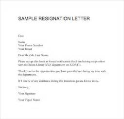 Resignations Letter Exles by Sle Resignation Letter Format 14 Free Documents In Pdf Word