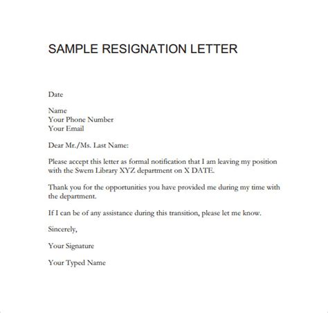 sample of a resignation letter sample resignation letter format 14 download free
