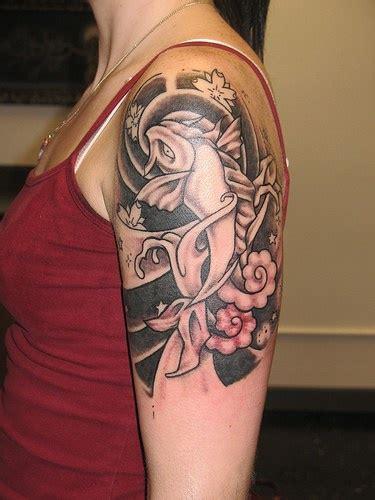 black koi lady tattoo on shoulder tattooimages biz